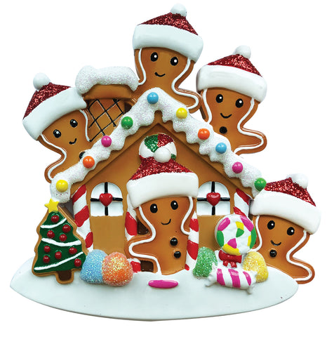 OR1872-5 - Gingerbread House Family of 5 Personalized Christmas Ornament