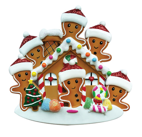 OR1872-6 - Gingerbread House Family of 6 Personalized Christmas Ornament