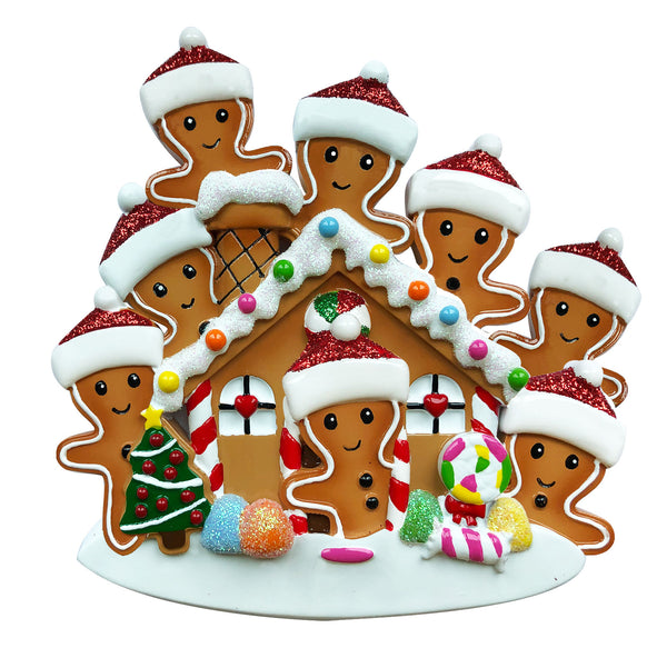 OR1872-8 - Gingerbread House Family of 8 Personalized Christmas Ornament