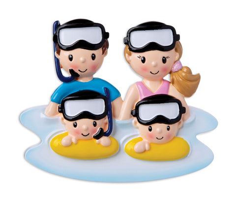 OR1874-4 -  Snorkel Family of 4 Personalized Christmas Ornament