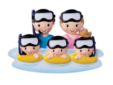 OR1874-5 -  Snorkel Family of 5 Personalized Christmas Ornament