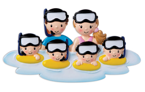 OR1874-6 -  Snorkel Family of 6 Personalized Christmas Ornament