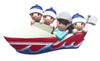OR1875-4 - Boating Family of 4 Personalized Christmas Ornament
