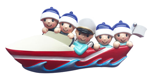 OR1875-5 - Boating Family of 5 Personalized Christmas Ornament