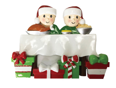 OR1876-2 - Dinner Table Family of 2 Personalized Christmas Ornament