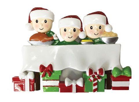 OR1876-3 - Dinner Table Family of 3 Personalized Christmas Ornament