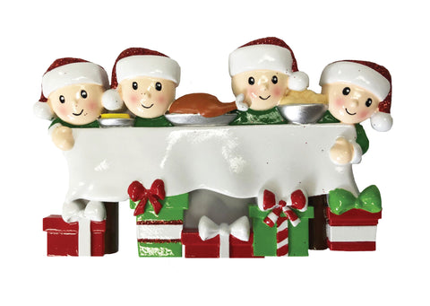 OR1876-4 - Dinner Table Family of 4 Personalized Christmas Ornament