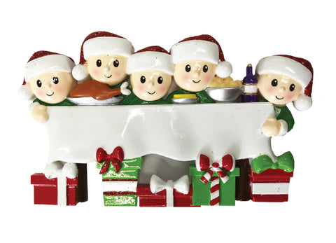 OR1876-5 - Dinner Table Family of 5 Personalized Christmas Ornament