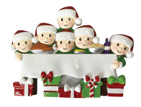OR1876-6 - Dinner Table Family of 6 Personalized Christmas Ornament