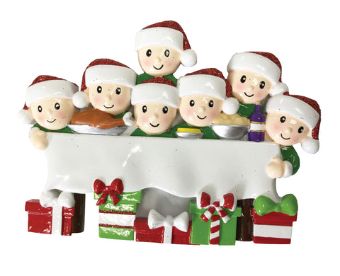 OR1876-7 - Dinner Table Family of 7 Personalized Christmas Ornament