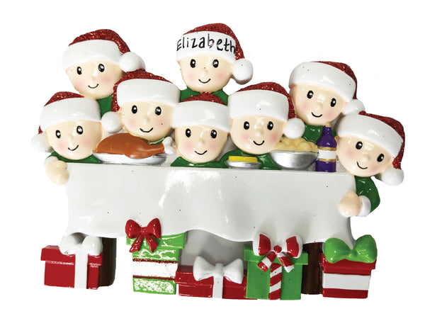 OR1876-8 - Dinner Table Family of 8 Personalized Christmas Ornament