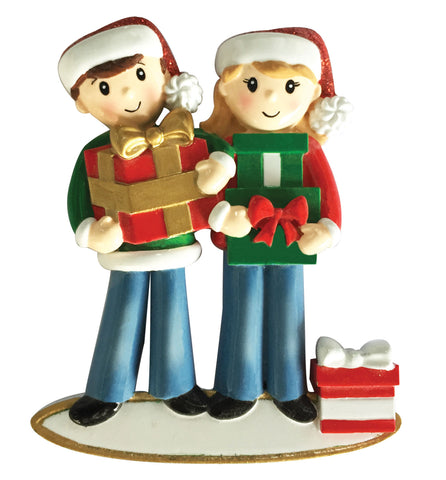 OR1877-2 - Couple Carrying Presents Personalized Christmas Ornament