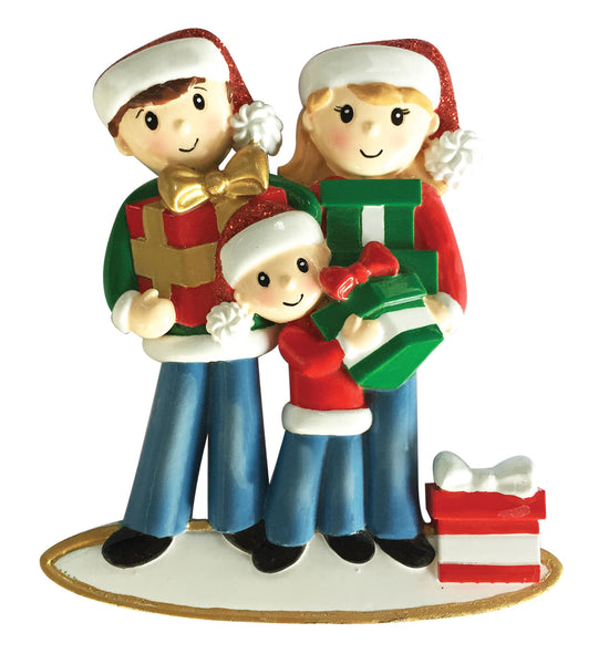 OR1877-3 - Family of 3 Carrying Presents Personalized Christmas Ornament
