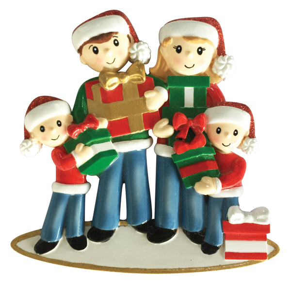 OR1877-4 - Family of 4 Carrying Presents Personalized Christmas Ornament