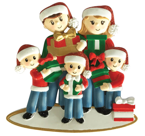 OR1877-5 - Family of 5 Carrying Presents Personalized Christmas Ornament