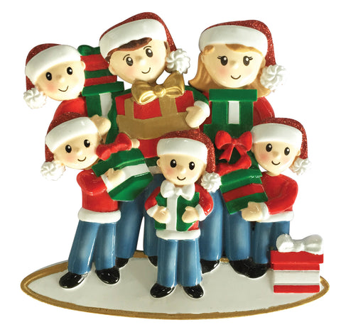 OR1877-6 - Family of 6 Carrying Presents Personalized Christmas Ornament