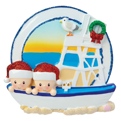 OR1901-2 - Beach Family of 2 Personalized Christmas Ornament