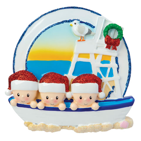 OR1901-3 - Beach Family of 3 Personalized Christmas Ornament