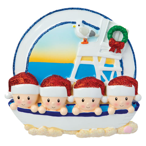OR1901-4 - Beach Family of 4 Personalized Christmas Ornament