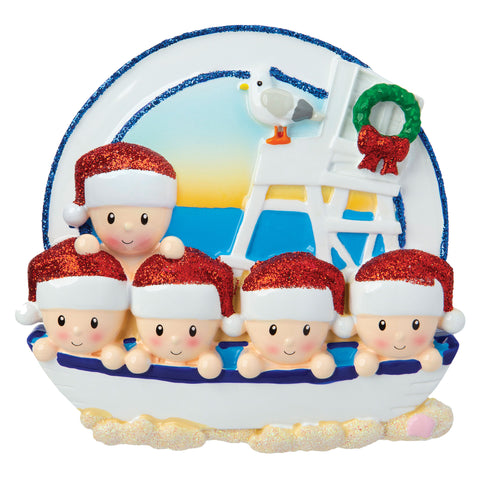 OR1901-5 - Beach Family of 5 Personalized Christmas Ornament
