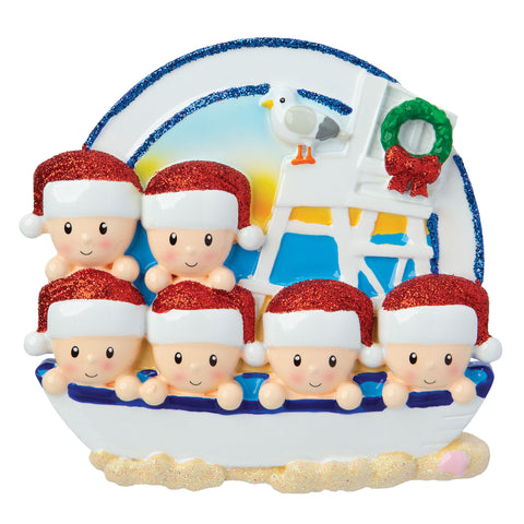 OR1901-6 - Beach Family of 6 Personalized Christmas Ornament