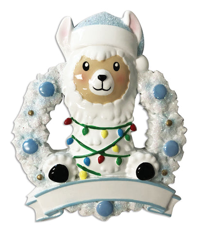OR1903-B - Llama In Wreath (Blue) Personalized Christmas Ornament