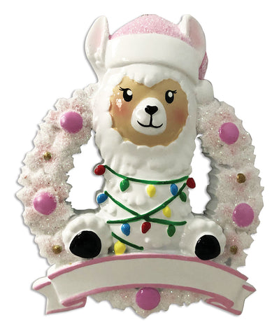 OR1903-P - Llama In Wreath (Pink) Personalized Christmas Ornament