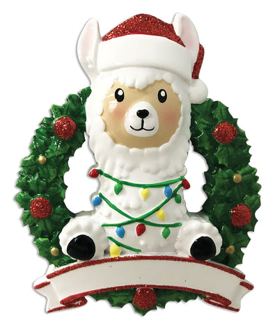 OR1903-R - Llama In Wreath (Red & Green) Personalized Christmas Ornament