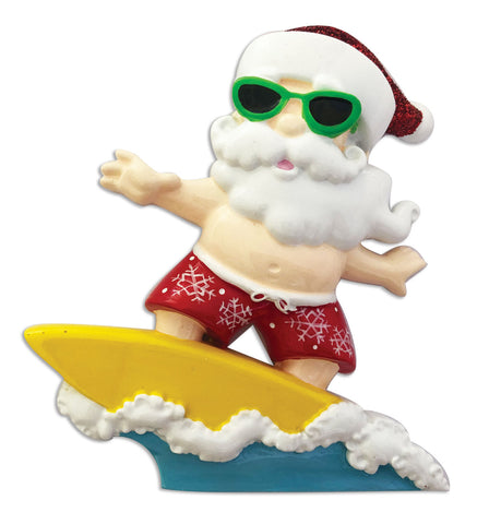 OR1904 - Santa with Surfboard Personalized Christmas Ornament