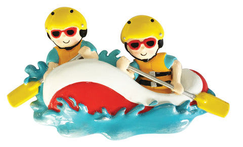 OR1908-2 - White Water Rafting Family of 2 Personalized Christmas Ornament