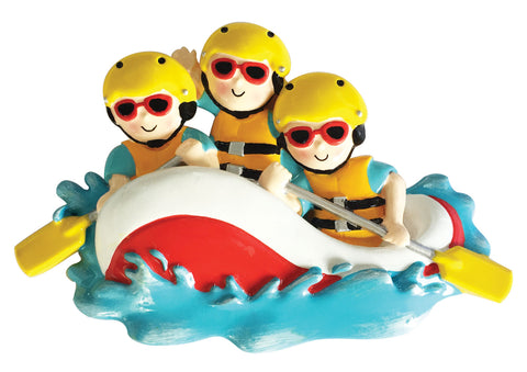 OR1908-3 - White Water Rafting Family of 3 Personalized Christmas Ornament