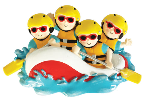 OR1908-4 - White Water Rafting Family of 4 Personalized Christmas Ornament
