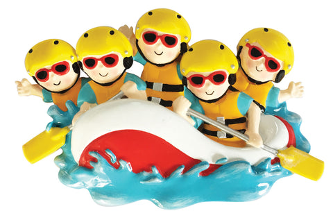 OR1908-5 - White Water Rafting Family of 5 Personalized Christmas Ornament