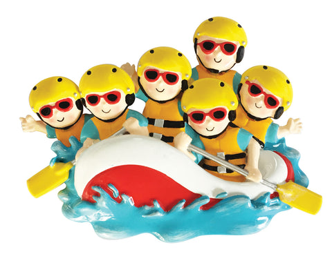 OR1908-6 - White Water Rafting Family of 6 Personalized Christmas Ornament