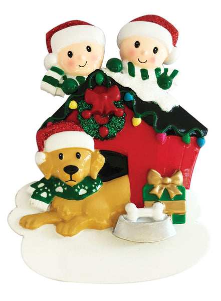 OR1909-2 - Family of Two with Dog Personalized Christmas Ornament