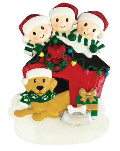OR1909-3 - Family of 3 with Dog Personalized Christmas Ornament
