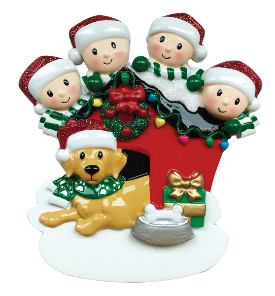 OR1909-4 - Family of 4 with Dog Personalized Christmas Ornament