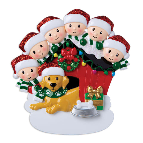 OR1909-6 - Family of 6 with Dog Personalized Christmas Ornament