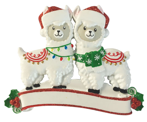 OR1910-2 - Llama Family of 2 Personalized Christmas Ornament