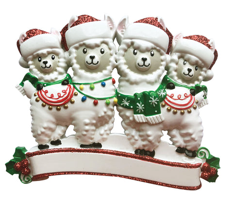 OR1910-4 - Llama Family of 4 Personalized Christmas Ornament