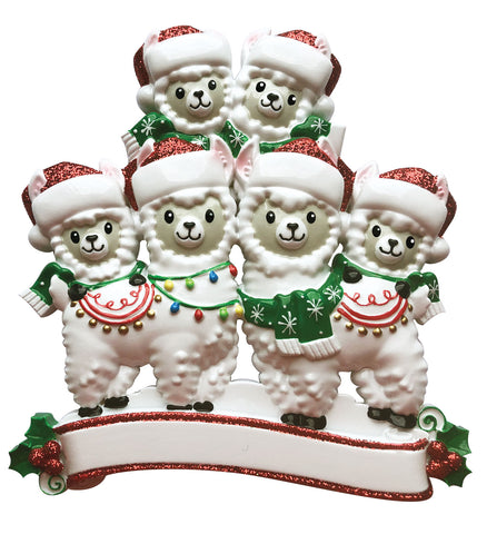 OR1910-6 - Llama Family of 6 Personalized Christmas Ornament