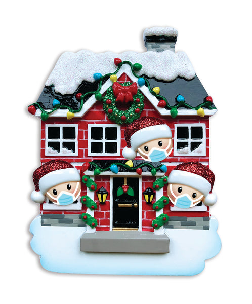 OR1911-3/SD - House Family of 3 with Masks Personalized Christmas Ornament