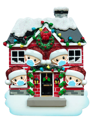 OR1911-4/SD - House Family of 4 with Masks Personalized Christmas Ornament