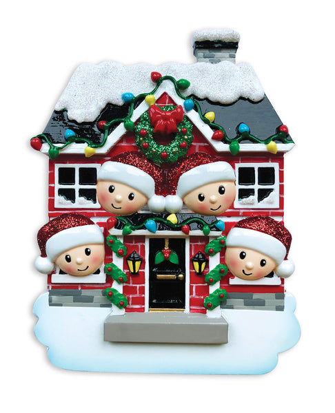 OR1911-4 - New House Family of 4 Personalized Christmas Ornament