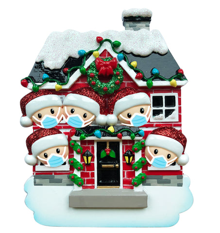 OR1911-5/SD - House Family of 5 with Masks Personalized Christmas Ornament