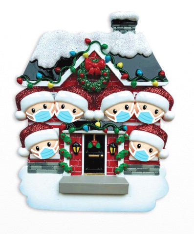 OR1911-6/SD - House Family of 6 with Masks Personalized Christmas Ornament