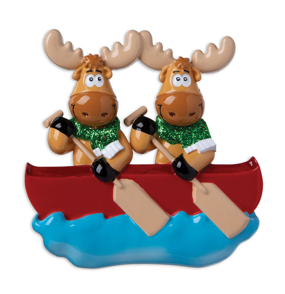 OR1912-2 - Moose Family of 2 On Canoe  Personalized Christmas Ornament