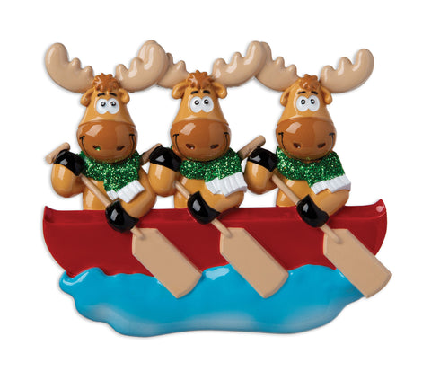 OR1912-3 - Moose Family of 3 On Canoe  Personalized Christmas Ornament