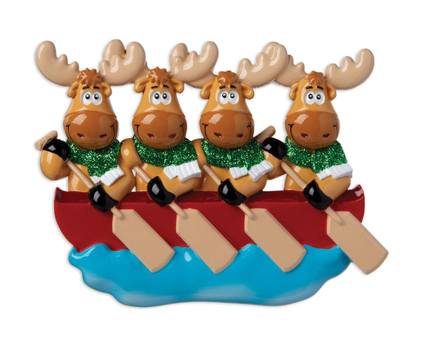 OR1912-4 - Moose Family of 4 On Canoe  Personalized Christmas Ornament