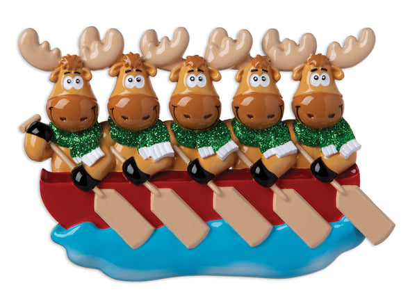OR1912-5 - Moose Family of 5 On Canoe  Personalized Christmas Ornament
